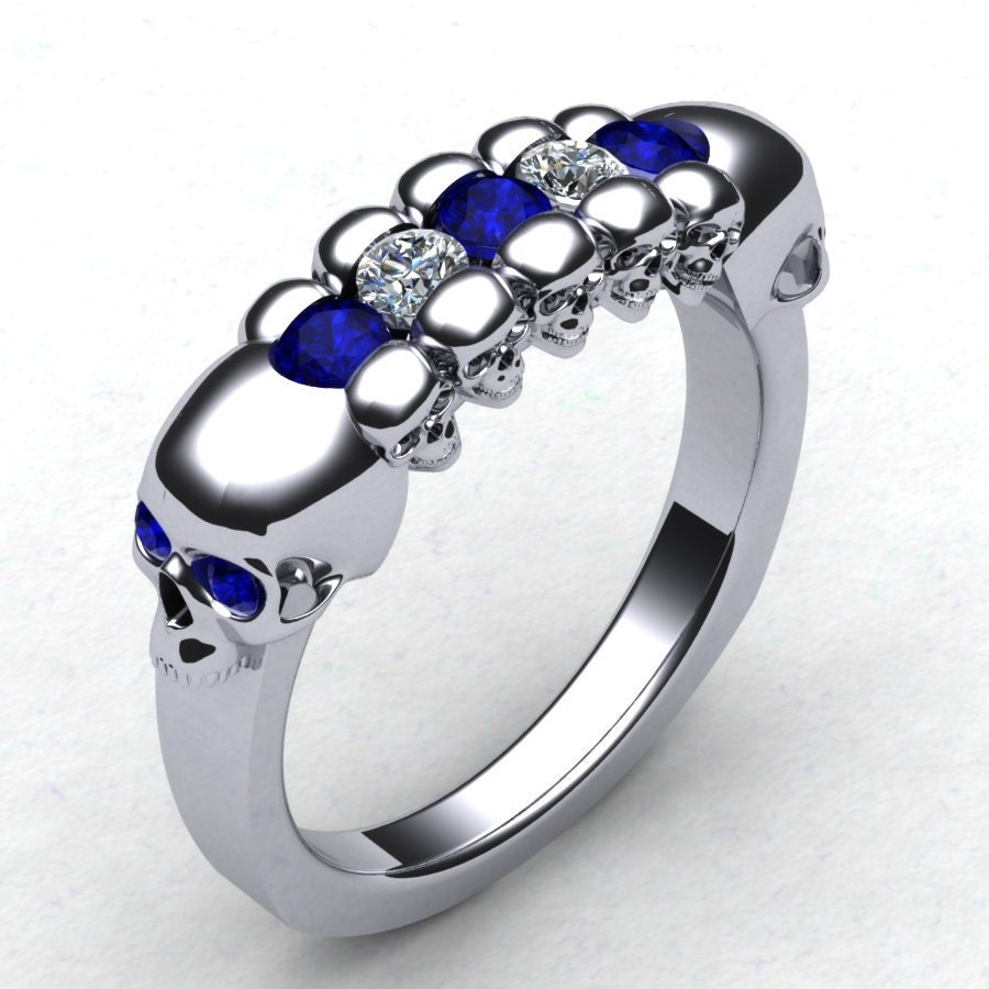 With This Skull Wedding Band Men's Skull Ring By