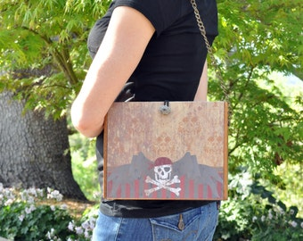 Pirate Themed Cigar Box Purse, Halloween costume, on sale, Skull and Crossbones, upcycled wood box
