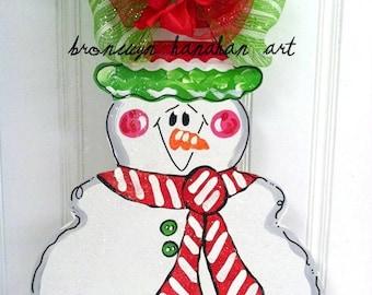 Red + Green Snowman Door Hanger - Bronwyn Hanahan Art