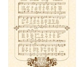 BE THOU My VISION --- 8 X 10 Antique Hymn Art Print on Natural Parchment Sepia Brown Christian Heritage Sheet Music Celtic Irish Folk Tune