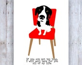 Hound Dog Art Wall Decor Waiting on a Red Chair to be Rescued, Dog Rescue Art, Black, Red, White, Red Chair, Oscar Wilde Quote