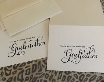 Thank you for being my Godmother, Godfather Cards, (2 ...