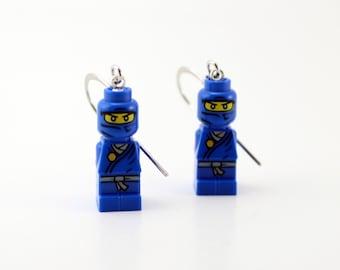 Blue Ninja Earrings made with Genuine LEGO (r) Microfigs