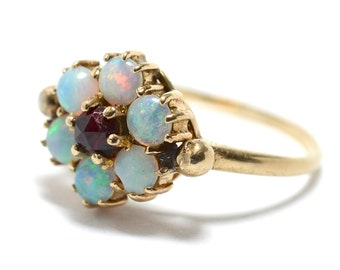 Victorian Opal and Rose Cut Garnet 9K Ring - Size 9.5