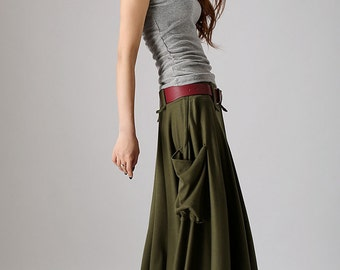 Army Green skirt,women maxi skirt with large side pockets,lagenlook clothing,Fall skirt , Plus size available ,casual skirt  (885)