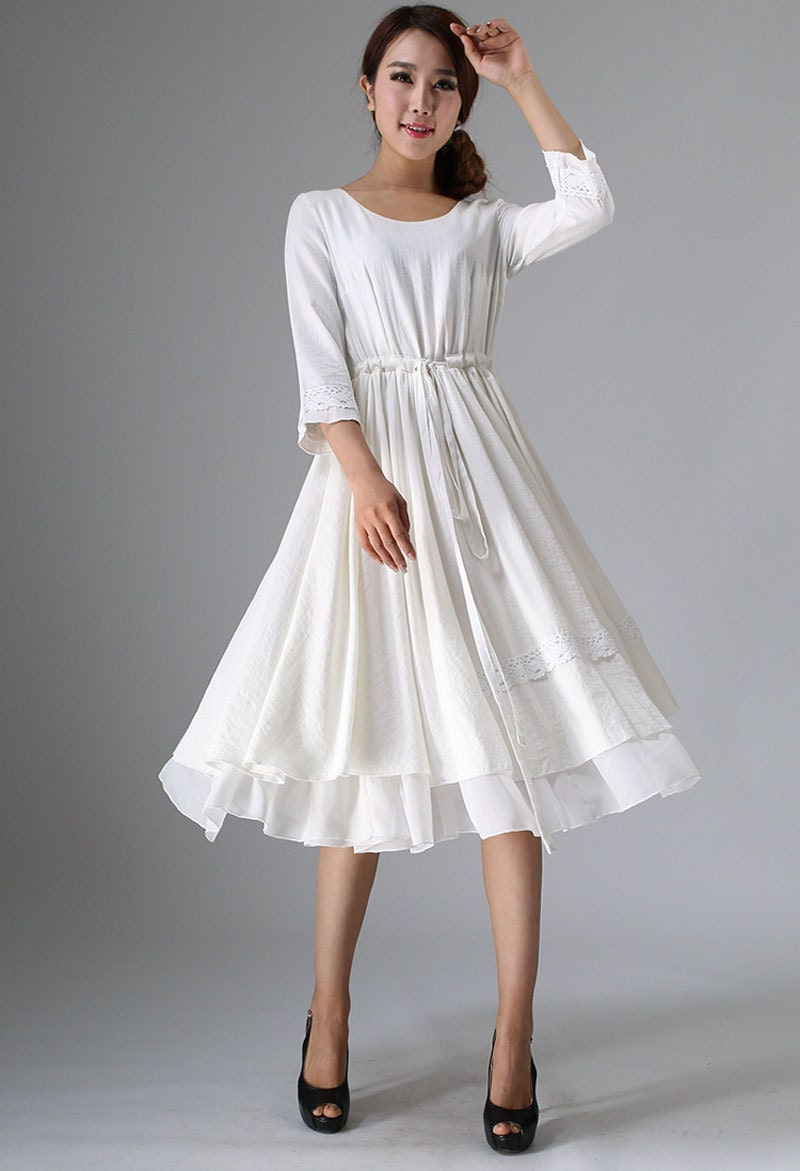 White linen dresswomens dresses tea length dress ivory
