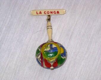 Vintage La Conga Maraca Celluloid Brooch Pin (B-3-6)
