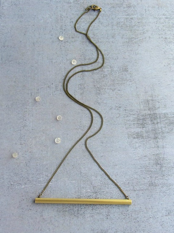 Brass tube bar gold long necklace, antique gold chain, minimalist jewelry.