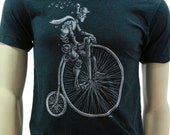 Old Timey Bicycle. Soft lightweight T Shirt. Robot Art by Emek. Men's Unisex tees .Bike. Cyclist tees. Father's day gift. Emek's poster.