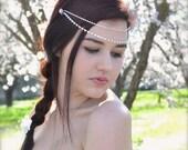 Rhinestone Bridal Hair Chains Draping Crystal Head Chains Double Forehead Chains Headpiece Crystal Art Deco Wedding Headpiece Boho headpiece