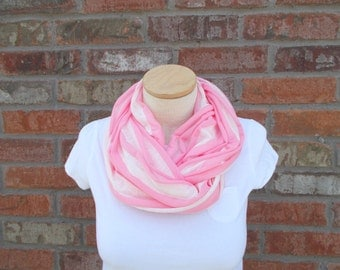 Jersey Scarf, Pink and White Scarf, Striped Scarf, Gifts Under 25, Jersey Knit Scarf, Lightweight Infinity Scarf, Cute Scarf, Circle Scarf