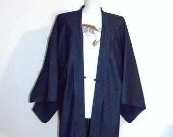 Mens KIMONO jacket HAORI denim indigo navy blue SAMURAI style made to order