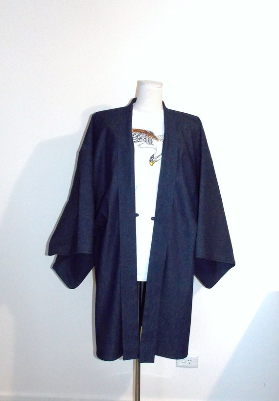 Men's KIMONO jacket HAORI 10.5oz denim indigo dark navy