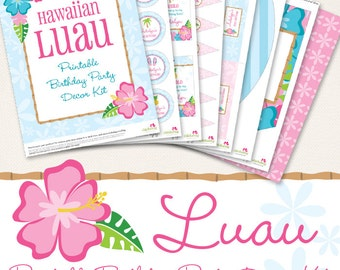 Luau birthday party printable decor kit - Over 45 pages of gorgeous personalized printables