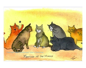 Funny Cat Card - Cat Art - Cat Cartoon Greeting Card - 'Meeting Of The Minds'