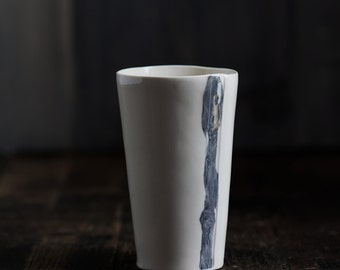 Marble Striped Hand Built Porcelain Cups - Tall