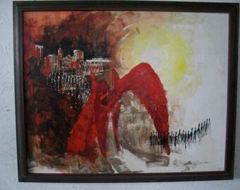 Mid Century Original Abstract Painting Calder La Grande Vitesse Original Art Signed 1960s Cityscape Painting
