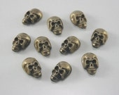 10 pcs Antique Brass Skull Head Rivets Studs Buttons Decorations Findings 10 mm. SK BR10 RV 31