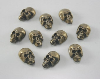 20 pcs Antique Brass Skull Head Rivet Stud Buttons Leathercraft Decorations 10 mm. SK RBR10 K