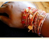 Orange Stackable Bracelets For Fall, Bead Bracelet Stack, Adjustable Bangles, Pumpkin Charm Bracelet, Memory Wire Jewelry, Orange Bangles