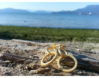 Circular Orbits Earrings // 3d printed steel brass silver drop earrings // gold-plated