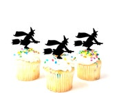 Witch Cupcake Toppers Set of 3 Halloween Cupcake Toppers Witch Silhouette Cupcake toppers Halloween Party Halloween Cake Halloween Decor