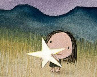 catch a star - catch a falling star little girl print star light star bright art cute baby girl green wall art little girls room girls art