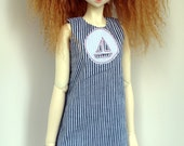 SD13 Blue and white striped cotton dress for SD 13 ball-jointed dolls