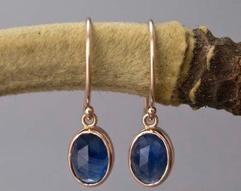 Rose Cut Oval Blue Sapphire and 14k Rose Gold Drop Earrings, also in yellow or white gold