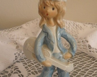 Clearance Handmade Vintage Guitar Girl Figurine from the 70,s
