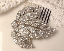 Antique Art Deco/Nouveau Bridal Hair Comb, Vintage Wedding Dress Clip Rhinestone Silver Leaf Hairpiece, 1920s Hair Piece Rustic Chic Country