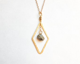 Diamond Pyrite Necklace