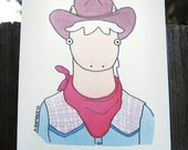 Funny Western Palomino Horse With Cowboy Hat, Bandana and Plaid Shirt - Blank Greeting Card - Illustration by A.Bamber