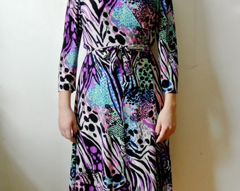 Vintage Abstract Print Wrap Dress Neon Wrap Dress Size Medium Large X-Large Gift For Her