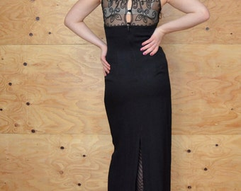 Vintage 80's Dress Long Black Maxi With Sheer Detail In Back SZ S/M