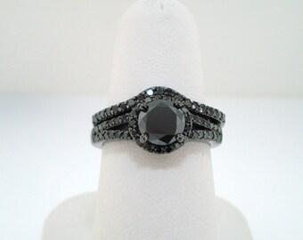 Fancy Black Diamonds Wedding Ring Set, Engagement Ring Set 14K Black Gold Vintage Style Bridal Sets Halo 1.52 Carat Handmade
