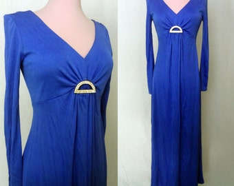 1970s Periwinkle Blue Formal Dress - Prom, Bridesmaid - Small Medium Large