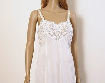 Vintage 1970s Slip Dress White Lacy Full Slip Lingerie / Size 36