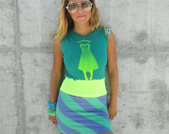 Women Recycled Dress Clothing Eco Handmade Tshirt Dress Greenphilosophie S-M  Green Stripes No Sleeves Neon Eco Friendly