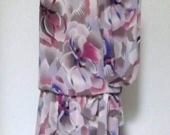 SALE Vintage Silk Floral Orchid Dress - Sheer Layers & Drop Waist - Radiant Orchid, Magenta, Lavender