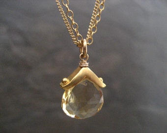 Citrine necklace, November birthday, double chain, citrine pendant,  yellow gemstone