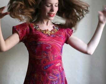 Paisley Indian Boho Maxi Dress - Hippie floral ornament print Tunic dress size Small XS