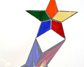 Stained Glass Star Suncatcher LGBT gift, rainbow star, celestial star, birthday gift, thank you gift