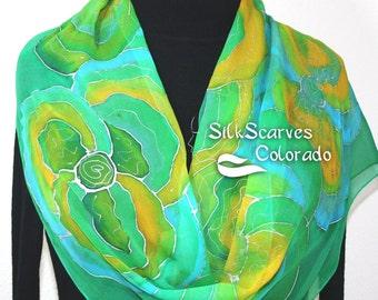 Silk Scarf Handpainted. Green, Yellow Hand Painted Shawl. Handmade Silk Wrap GREEN MEMORIES. Extra Long 11x90. Bridesmaid, Mother Gift.