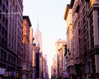 NYC Photography, Empire State Building, Travel Wall Art, Pink Golden Light, City Art, Soft Pink Skyline Photo, Sunset Home Decor, NYC Print