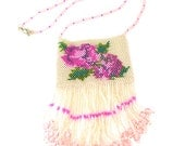 Pink Beaded Rose Amulet Necklace Purse Spring Flowers - MegansBeadedDesigns
