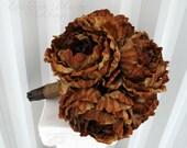 Ready to ship - Wedding bouquet Brown peony bouquet burlap Brides bouquet