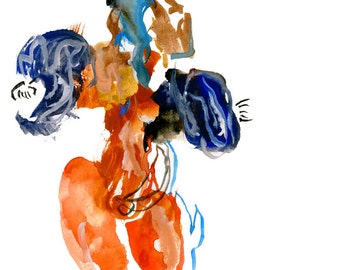 """Abstract Watercolor Painting featuring Surreal Figurative Art, Original Fashion Illustration 6"""" x 6"""" - 38"""