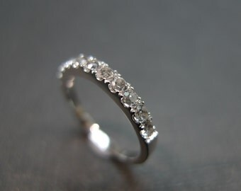 White Sapphire Wedding Ring in 14K White Gold