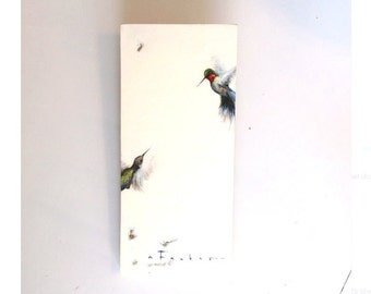 Large Original oil painting, Hummingbirds with gold leaf